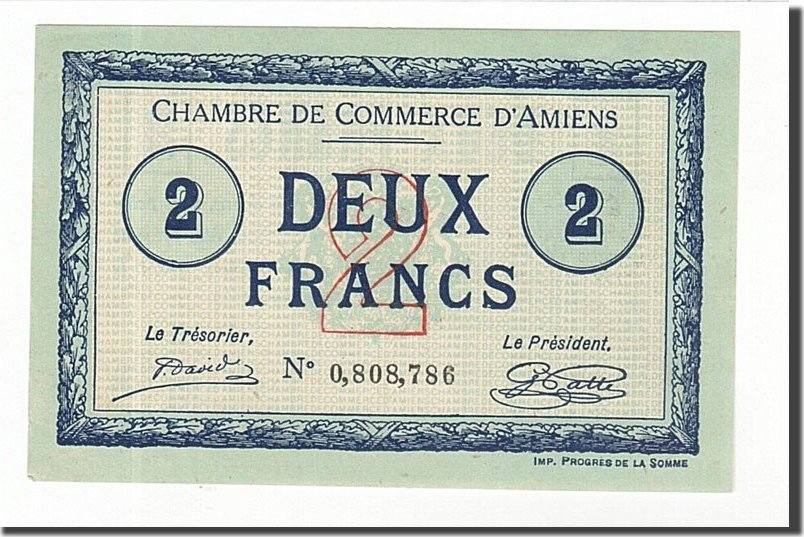 2 francs 1915 france banknote pirot 7 46 amiens unc 63 for Chambre de commerce amiens