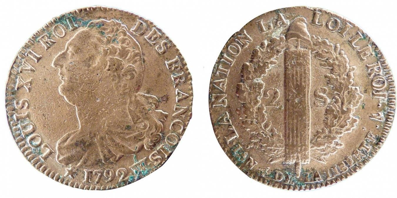 Afbeeldingsresultaat voor 2 sols 1792 W