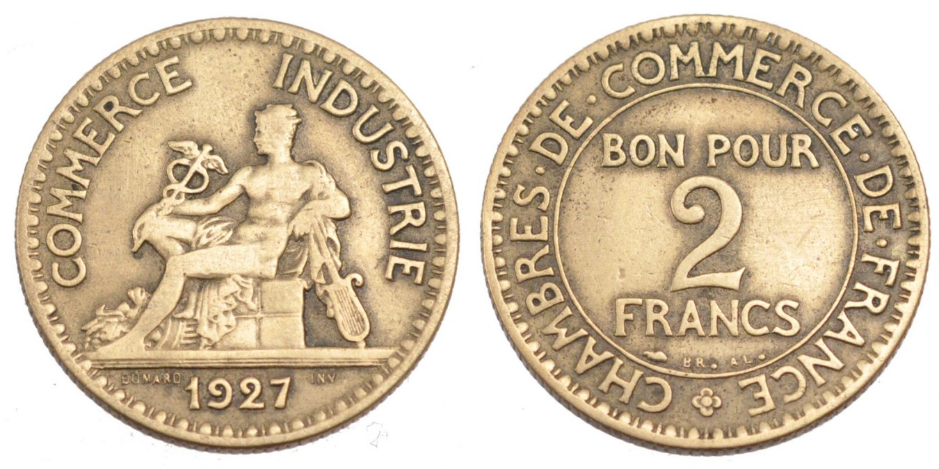 2 francs 1927 france coin chambre de commerce aluminum for Chambre commerce france