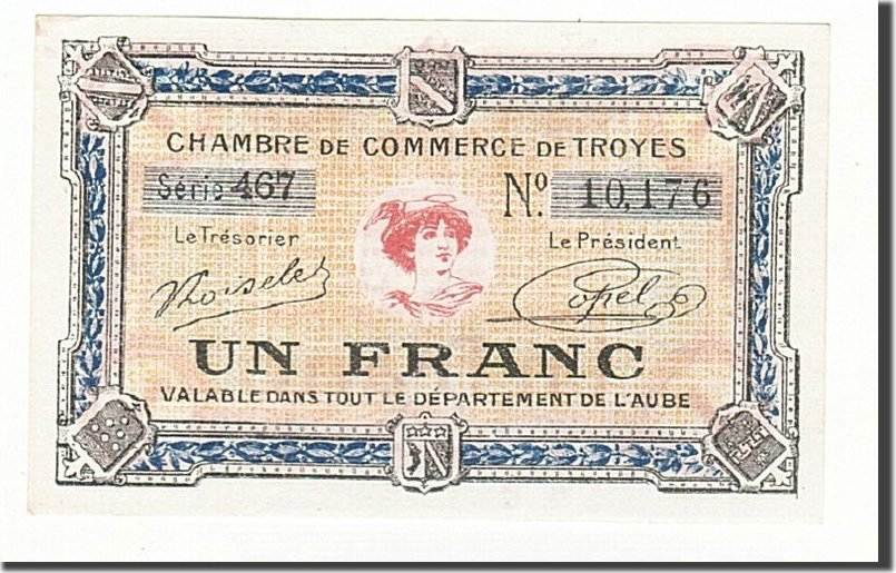 1 franc france banknote pirot 124 14 troyes unc 63 ma shops. Black Bedroom Furniture Sets. Home Design Ideas