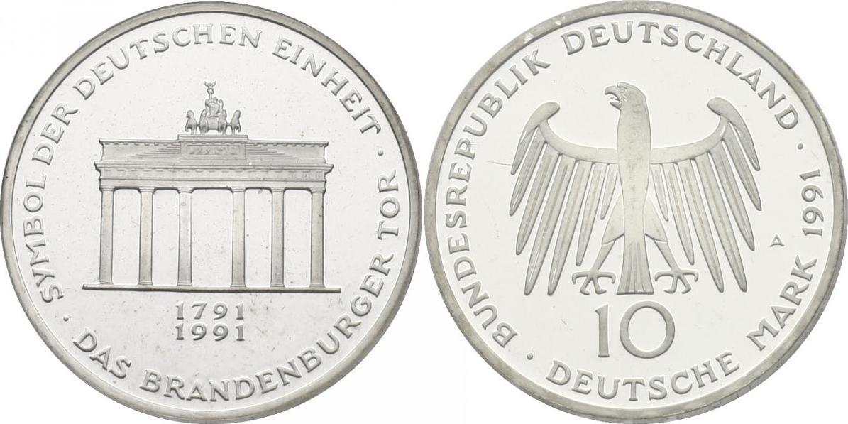 10 Mark 1991 Deutschland Das Brandenburger Tor Symbol Der