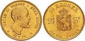 1874 Norway Oscar II Gold 10 kroner PCGS MS64