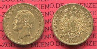 20 Mark Goldmünze Kursmünze 1872 E Sachsen German Empire Kingdom of Saxonia König Johann gutes ss