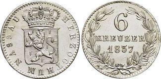 6 Kreuzer 1837 Nassau Wilhelm 1816-1839. fast Stempelglanz