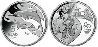 5 Reais 2014  Rio Oly. Sommer Rio 2016 - Delphin 02 / 16, orig.Oly. Kapsel m. Zertifikat PP Sterling Silber
